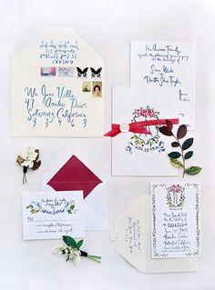 pretty hand-painted wedding invitation suite