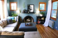 """Kim's """"Nature Retreat"""" Room — room for color contes (Apartment Therapy Main) New Living Room, Home And Living, Living Room Decor, Living Spaces, Dining Room, Blue Rooms, Blue Bedroom, Blue Walls, Master Bedroom"""