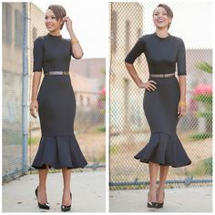 Black Trumpet Midi Dress. Flattering for every figure! http://www.shoxie.com/black-trumpet-midi-dress.html