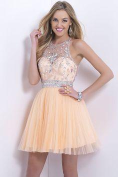 2014 Halter Short/Mini Prom Dress Beaded Bodice A Line Tulle