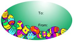 Many bright Easter eggs line this oval gift tag. Attach it to a present or use it on an Easter basket. Free to download and print