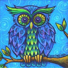 Owl in Blue Art Print