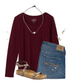 """""""1 week until Christmas """" by flroasburn ❤ liked on Polyvore featuring LOFT, Abercrombie & Fitch, J.Crew and Birkenstock"""