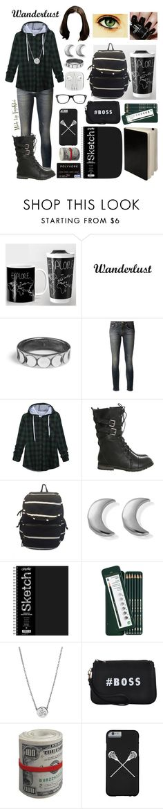 """""""#6 Wandering Beacon Hills"""" by fuyukiba ❤ liked on Polyvore featuring Rachel Entwistle, R13, Madden Girl, ChloBo, Faber-Castell, Nails Inc., Liwu Jewellery, BOSS Black and Ray-Ban"""