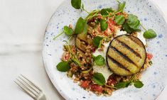 Aubergine Kisir, tomatoes, cucumber, bulgar wheat, pomegranate molasses, yoghurt