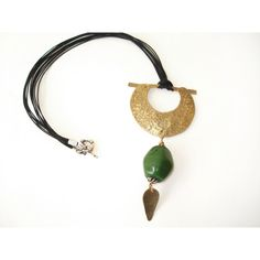 Handmade Crescent Pendant-Hand Hammered Gold Bronze Pendant-Cold... (€30) via Polyvore featuring jewelry, pendants, silver leaf pendant, gold jewelry, gold pendant, glass bead pendants and green gold jewelry
