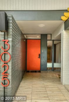 mid century modern (MCM) blue door with glass panels. I think this ...