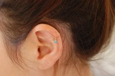 Gold hoop cartilage earring helix earring turquoise by maylovely, $9.99