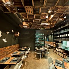 Interior: Awesome Compilation Of Inspiring Best Restaurant Design In The World, Industrial Interior Bar Resto Design with Wooden Box Ceiling and Wall Wooden Parquet