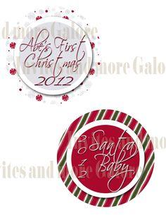 Christmas Onesie - Printable - Santa Baby - Baby's First Chrsitmas - Stickers or Iron on Transfers. $1.00, via Etsy.