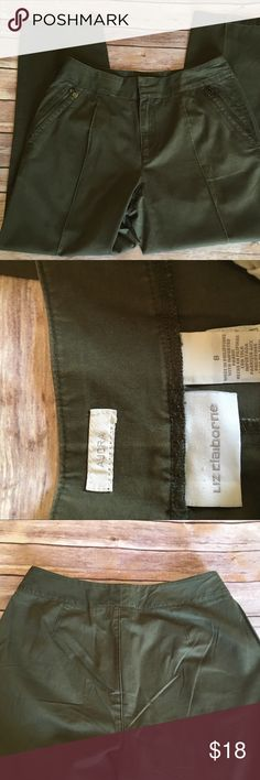 """Olive Green Liz Claiborne Pants Olive green pants. Size 8. Very comfortable and easy to care for. Great alternative to jeans.  100% cotton  Waist: 15.5"""" Hip: 19"""" Rise: 10"""" Inseam: 27"""" Total length: 37"""" Leg opening: 7.5  Bn1 Item# P08 Liz Claiborne Pants Skinny"""