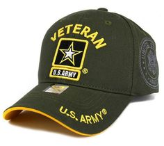 ba421f4a91f U.S. ARMY VETERAN Baseball Cap Hat - Olive Gold Military Veterans