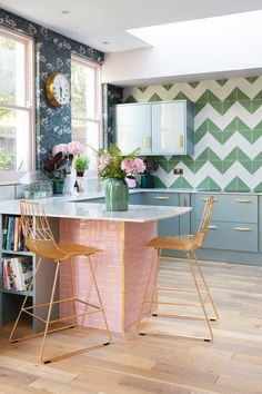 Every Inch of This Colorful Kitchen Remodel Is Charming Favorite Element: The Bert & May pink-tile-clad marble breakfast bar. The tiles are such a delicious shade of pink and I love to perch on my gold Bend Goods counter stool and watch t Home Decor Kitchen, Kitchen Interior, New Kitchen, Modern Retro Kitchen, Eclectic Kitchen, Decorating Kitchen, Decorating Games, Stylish Kitchen, Kitchen Tools