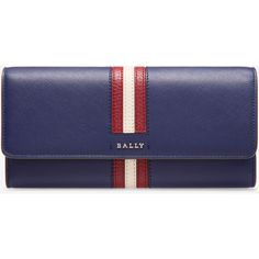 Bally SINNEY Women's calf leather continental wallet in marine ($375) ❤ liked on Polyvore featuring bags, wallets, calfskin wallet, calf leather wallet, bally bag, change purse and coin purse wallets