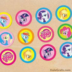 FREE Printable My Little Pony Cupcake Toppers Invitations Cupcakes