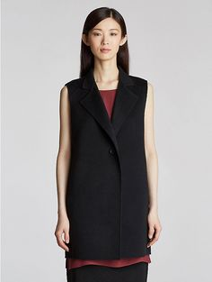 High Collar Long Vest in Brushed Wool Doubleface