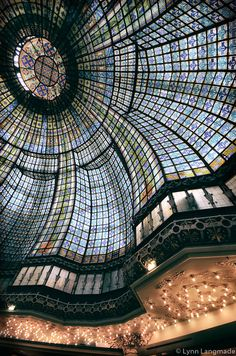 """Black and White Photography -stained glass ceiling at Printemps, Paris wall decor, Paris wall prints, Paris art, travel - """"Looking Glass II"""" by LynnLangmade on Etsy Paris Black And White, Black And White Canvas, Black White Photos, White Art, Black And White Photography, Paris Wall Decor, Blue Wall Decor, Paris Photography, Travel Photography"""