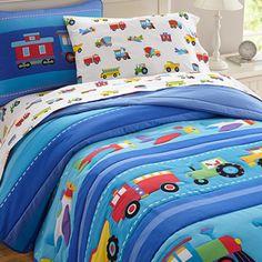 Olive Kids Trains Planes & Trucks Full/Queen Comforter And Shams Set