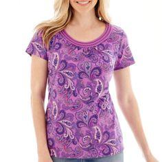 St. John's Bay® Short Sleeve Scoop Neck Top - JCPenney. Purple Paisley.