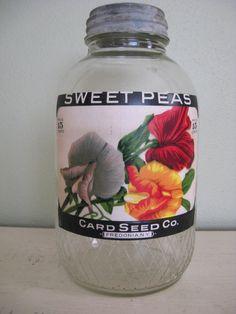 Old coffee jar re-purposed to a seed jar