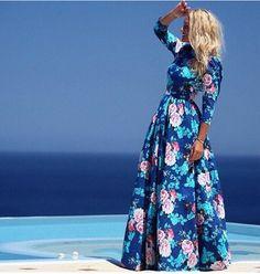 BLUES Bohemian 2015 Summer Auturm Dresses Print O-Neck Mermaid Women Dress Trumpet Floor-Length Maxi Casual Dresses 983c2339-eba8-487c-a5f9-024befdd84b5 Dresses