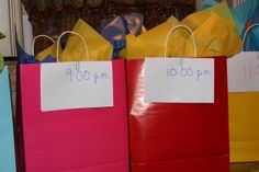 Hourly Activity Bags for New Years Eve. Ideas like, a movie, a puzzle, a board game, make cupcakes, play a card game, go ice skating, go tubing, decorate a party hat...