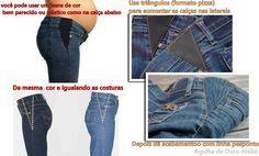 Agulha de ouro Ateliê: Remodelando e alargando as calças jeans! Com triângulos de tecido