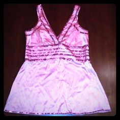 Bebe Pink Sequin Tank Top Good condition some sequins may be missing not noticeable - as is -side zipper no stretch silk bebe Tops Tank Tops
