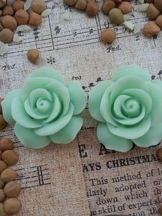 Flower Plugs Gauges Mint Green Roses by RefinedRubbishLLC on Etsy, $22.00