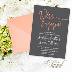 Calligraphy Engagement Party Invitation - Faux Copper Foil Faux Rose Gold Foil and Gray Copper and Grey Typography We're Engaged Printable