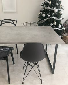 Concrete Table, Dining Table Design, Shops, Modern Design, Ldk, Living Room, Interior Design, Chair, Wood