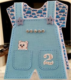 Birthday Card 2 year old Blue White and Silver