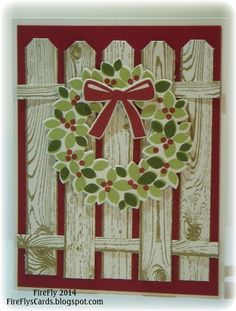 Wreath on a Fence by Shawn Crawford (USA-California), The combination of the Wondrous Wreath stamp set and the Wonderful Wreath Thinlits, made this project very easy - no fussy cutting this time.  Stamps - Hardwood, Wondrous Wreath Card Stock - Cherry Cobbler, Whisper White Ink - Cherry Cobbler, Mossy Meadow, Pear Pizzazz Thinlits - Wonderful Wreath