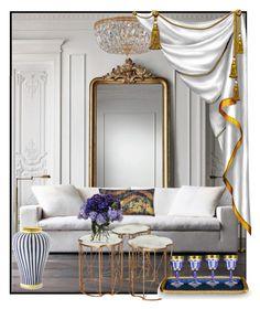 """WHITE-GOLD-BLUE!!!"" by kskafida ❤ liked on Polyvore featuring interior, interiors, interior design, home, home decor, interior decorating, Williams-Sonoma, Crystorama, Julia Knight and Forzieri"
