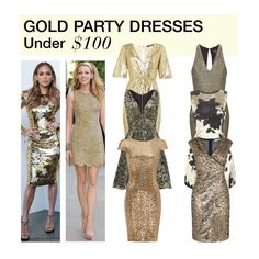 """""""Under $100: Gold Party Dress"""" by polyvore-editorial ❤ liked on Polyvore featuring mode, TFNC, Allison Parris, Topshop, AX Paris, Oasis, Badgley Mischka, under100 et goldpartydress"""