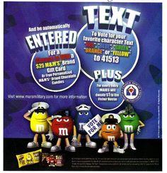 2010 magazine ad M&M's VOTE FOR ME blue mms M&M print advert advertisement