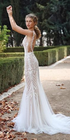 GALA Galia Lahav collection no. VII Fall 2019 Bridal // spaghetti strap deep plunging v neck full embellishment elegant glamorous lace fit and flare mermaid wedding dress backless scoop back medium train sdv — These 13 Looks Prove That Fairytale Wedd Wedding Dress Gallery, Wedding Dress Trends, Designer Wedding Dresses, Wedding Gowns, Wedding Bride, Modest Wedding, Lace Weddings, Wedding Ceremony, Backless Mermaid Wedding Dresses