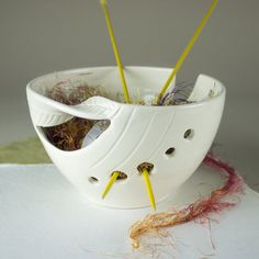Yarn Bowl Knitting Bowl supplies storage von blueroompottery
