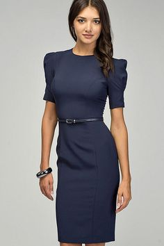 a86e00a6e4 Blue pencil dress   short sleeves elegant woman   by PlayFashion
