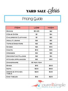 Yard Sale Series Pricing Guide.001