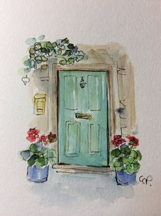 Doorway Watercolor Card / Hand Painted Watercolor Card