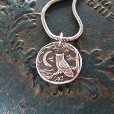 A new, slightly smaller edition in my Night Owl series. This shining pendant is a window into a silver forest; a watchful owl is waiting to welcome you. I carefully press each pendant from my original carving, and finish with love and care. The pendant is fine silver, or 99.9% pure silver, made using recycled silver. Youll love the intricate detail and lovely shine. I would be happy to personalize this for you with engraving; up to 15 characters at no extra charge.  The pendant is 15/16…