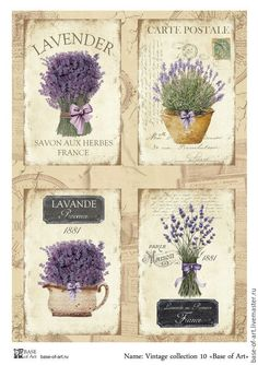 Lavender Paint, Lavender Decor, Lavender Crafts, Papel Vintage, Decoupage Vintage, Decoupage Paper, Art Base, Vintage Labels, Bullet Journal Inspiration