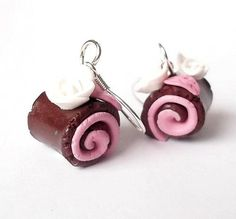 Raspberry Cakes Earrings Polymer Clay Funny Jewelry Silver Earrings White Roses Miniature Food Swiss roll
