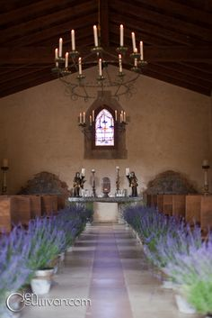 lavender down the aisle at Cal-a-Vie Health Spa, by isari floral + event design studio