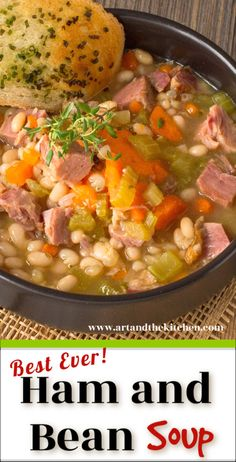A Best Ever recipe for Ham and Bean Soup! An all-time favourite recipe for leftover ham, so hearty and delicious. Soup Appetizers Soup Appetizers dinners carb Soup Appetizers Appetizers with french onion Recipe For Ham And Bean Soup, Bean Soup Recipes, Pork Recipes, Crockpot Recipes, Bean With Bacon Soup, Tasty Soup Recipes, White Bean Ham Soup, Crockpot Ham And Beans, Frugal Recipes