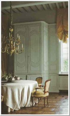 Painted cupboards, I have these same exact chairs. This pic needs chairs on a larger scale.