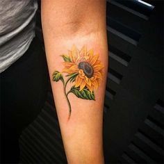 Watercolor Sunflower Tattoo Picture Perfect