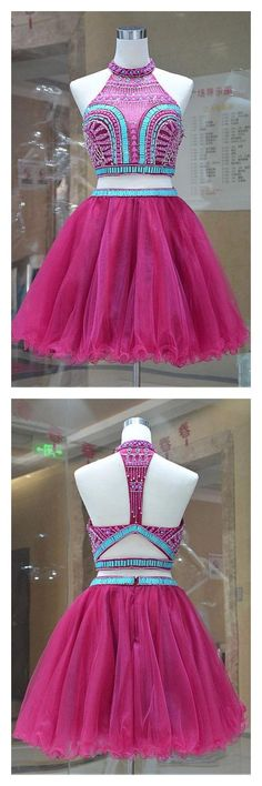 A Line Two Pieces Beading Tulle Homecoming Dress,Short Party Dresses Prom Dresses Cocktail Dresses Graduation Dresses