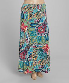 Look what I found on #zulily! MOA Collection Blue Paisley Maxi Skirt - Plus by MOA Collection #zulilyfinds
